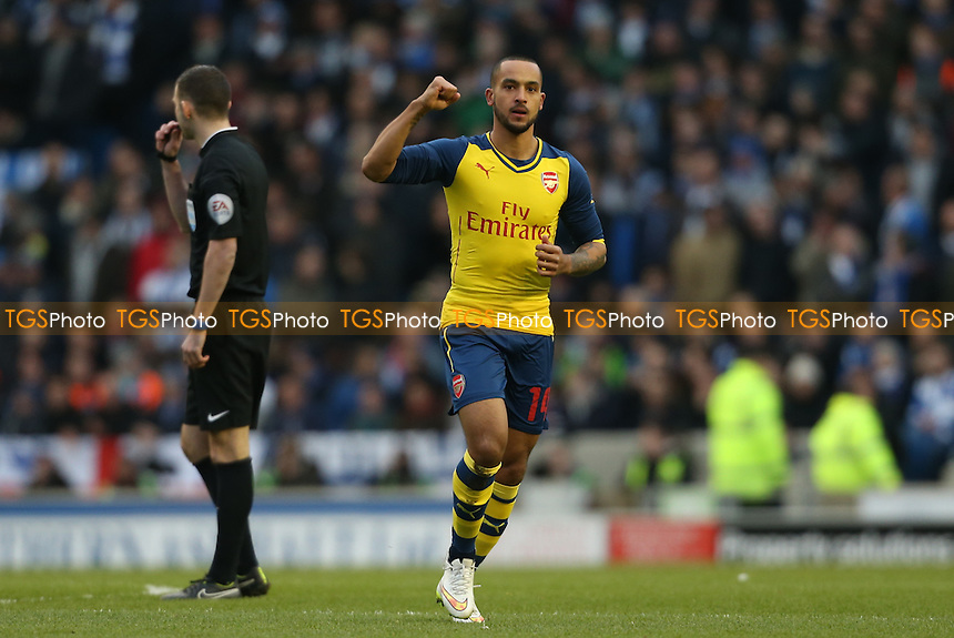 Theo Walcott of Arsenal salutes the away fans after scoring - Brighton & Hove Albion vs Arsenal - FA Challenge Cup 4th Round Football at the American Express Community Stadium, Falmer, Brighton - 25/01/15 - MANDATORY CREDIT: Simon Roe/TGSPHOTO - Self billing applies where appropriate - contact@tgsphoto.co.uk - NO UNPAID USE