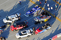 Jan. 21, 2012; Jupiter, FL, USA: Aerial view of the cars of NHRA funny car drivers Robert Hight (top), Cruz Pedregon (middle) and Bob Tasca III in the staging lanes during testing at the PRO Winter Warmup at Palm Beach International Raceway. Mandatory Credit: Mark J. Rebilas-