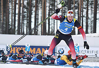 March 14th 2020, Kontiolahti, Finland;  Vetle Sjaastad Christiansen of Norway competes during the mens 12.5 km Pursuit competition at the IBU Biathlon World Cup in Kontiolahti, Finland, on March 14, 2020. Kontiolahti Finland LKLAPJ20200314144945B755