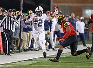 College Park, MD - November 25, 2017: Penn State Nittany Lions quarterback Tommy Stevens (2) runs out of bounds during game between Penn St and Maryland at  Capital One Field at Maryland Stadium in College Park, MD.  (Photo by Elliott Brown/Media Images International)