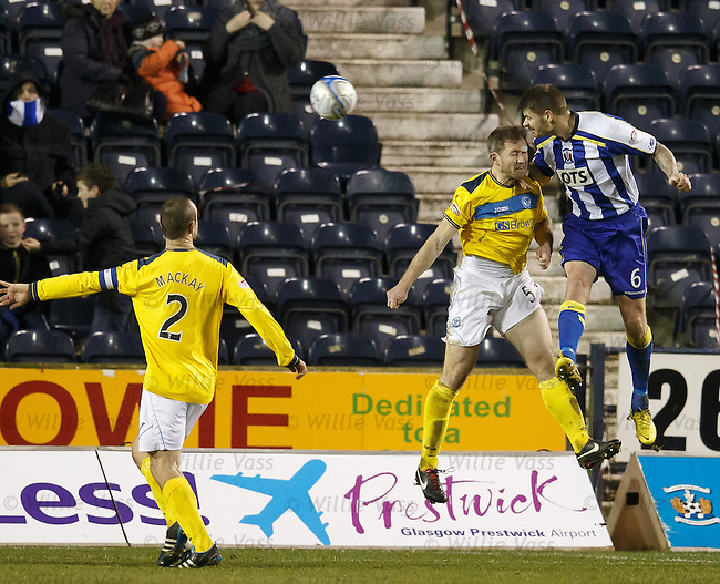 Michael Nelson beats Frazer Wright to score for Kilmarnock