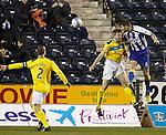 Michael Nelson beats Frazer Wright to score for Kilmarnock