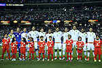 22 July 2015: Mexico's starters. From left: Andres Guardado (MEX), Guillermo Ochoa (MEX), Miguel Layun (MEX), Diego Reyes (MEX), Hector Herrera (MEX), Jonathan dos Santos (MEX), Oswaldo Alanis (MEX), Paul Aguilar (MEX), Francisco Javier Rodriguez (MEX), Carlos Vela (MEX) ,Oribe Peralta (MEX). The Panama Men's National Team played the Mexico Men's National Team at the Georgia Dome in Atlanta, Georgia in a 2015 CONCACAF Gold Cup semifinal match. Mexico won the game 2-1 after extra time.