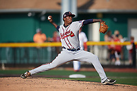 Danville Braves starting pitcher Jose Montilla (45) delivers a pitch during a game against the Johnson City Cardinals on July 29, 2018 at TVA Credit Union Ballpark in Johnson City, Tennessee.  Johnson City defeated Danville 8-1.  (Mike Janes/Four Seam Images)