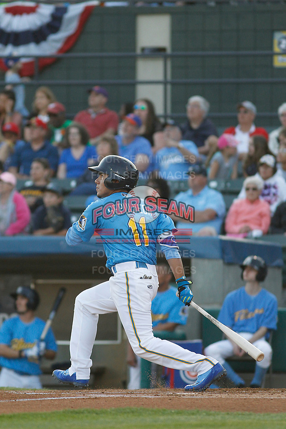 Myrtle Beach Pelicans infielder Carlos Sepulveda (11) at bat during a game against the Lynchburg Hillcats at Ticketreturn Field at Pelicans Ballpark on April 14, 2017 in Myrtle Beach, South Carolina. Lynchburg defeated Myrtle Beach 5-2. (Robert Gurganus/Four Seam Images)