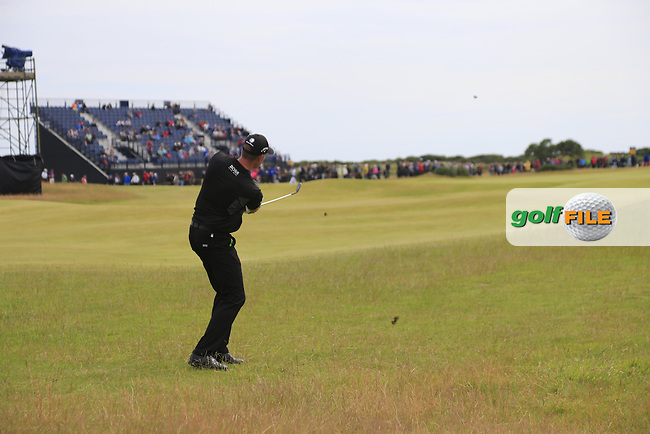 Henrik STENSON (SWE) chips into the 14th green during Monday's Final Round of the 144th Open Championship, St Andrews Old Course, St Andrews, Fife, Scotland. 20/07/2015.<br /> Picture Eoin Clarke, www.golffile.ie