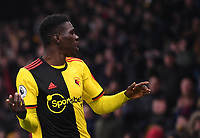 1st January 2020; Vicarage Road, Watford, Hertfordshire, England; English Premier League Football, Watford versus Wolverhampton Wanderers; Ismaila Sarr of Watford frustrated after his shot hits the side netting - Strictly Editorial Use Only. No use with unauthorized audio, video, data, fixture lists, club/league logos or 'live' services. Online in-match use limited to 120 images, no video emulation. No use in betting, games or single club/league/player publications