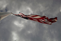 Creative view of the American (USA) flag blowing in the Austin, Texas breeze