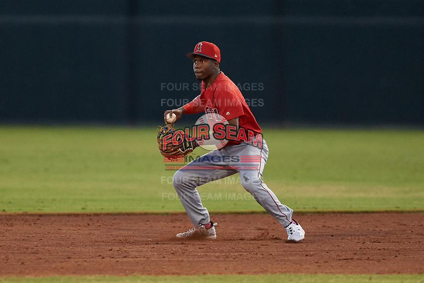 AZL Angels second baseman Drevian Williams-Nelson (6) throws to the shortstop during a game against the AZL Giants Orange at Giants Baseball Complex on June 17, 2019 in Scottsdale, Arizona. AZL Giants Orange defeated AZL Angels 8-4. (Zachary Lucy/Four Seam Images)
