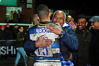 Anthony Watson of Bath Rugby celebrates the win with his family after the match. Aviva Premiership match, between Gloucester Rugby and Bath Rugby on March 26, 2016 at Kingsholm Stadium in Gloucester, England. Photo by: Patrick Khachfe / Onside Images