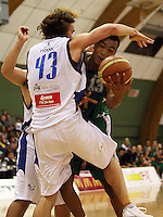 Stars forward Casey Franks blocks Marcel Jones during the NBL Round 5 match between the Manawatu Jets  and Auckland Stars at Arena Manawatu, Palmerston North, New Zealand on Friday 10 April 2009. Photo: Dave Lintott / lintottphoto.co.nz