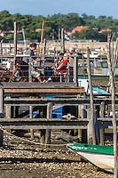 France, Gironde (33), Bassin d'Arcachon, Le Cap-Ferret, Dégustation d' huitres dans un  cabanon d' ostréiculteur  au village des pêcheurs -  // France, Gironde, Bassin d'Arcachon, Le Cap Ferret, Fisherman's Village, Detail of the oyster shed