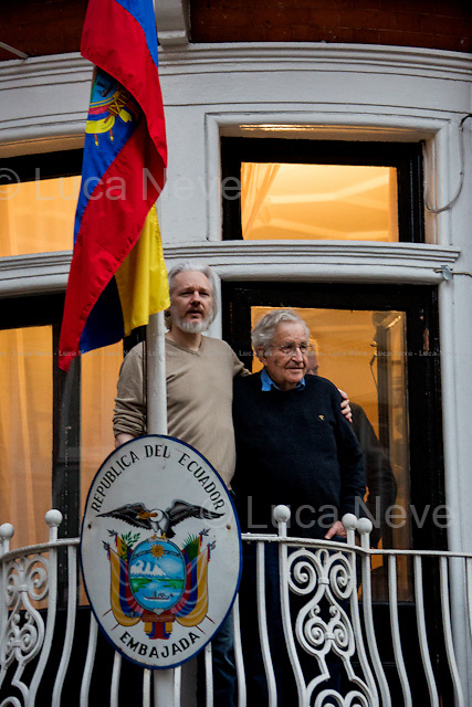 """London, 25/11/2014. As announced on the Wikileaks Facebook page, Professor Noam Chomsky (Avram Noam Chomsky, American linguist, philosopher, cognitive scientist, logician, political commentator and anarcho-syndicalist activist; sometimes described as the """"father of modern linguistics""""; also he is a major figure in analytic philosophy; he has spent most of his career at the Massachusetts Institute of Technology MIT, where he is currently Professor Emeritus, and has authored over 100 books. He has been described as a prominent cultural figure, and was voted the """"world's top public intellectual"""" in a 2005 – source Wikipedia.org) met Julian Assange at the Ecuadorian Embassy where the 16th August 2012 the President of Ecuador Rafael Correa and his Government granted the Diplomatic Asylum to the founder of Wikileaks."""