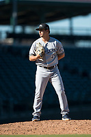 Peoria Javelinas relief pitcher Daniel Brown (49), of the Milwaukee Brewers organization, looks in for the sign during an Arizona Fall League game against the Mesa Solar Sox at Sloan Park on November 6, 2018 in Mesa, Arizona. Mesa defeated Peoria 7-5 . (Zachary Lucy/Four Seam Images)