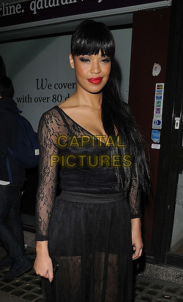 SARAH JANE-CRAWFORD .attended the Blackberry Collection music service launch party, Sketch, Conduit St., London, England..September 20th, 2011.half length black sheer lace sleeves dress red lipstick .CAP/CAN.©Can Nguyen/Capital Pictures.