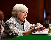 """Janet L. Yellen, Chair, Board of Governors of the Federal Reserve System, testifies before the United States Senate Committee on Banking, Housing, and Urban Affairs on """"The Semiannual Monetary Policy Report to the Congress"""" on Capitol Hill in Washington, DC on Thursday, July 13, 2017.<br /> Credit: Ron Sachs / CNP"""