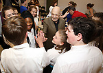 Charles Strouse and cast during the Children's Theatre of Cincinnati presentation for composer Charles Strouse of 'Superman The Musical' at Ripley Grier Studios on June 8, 2018 in New York City.