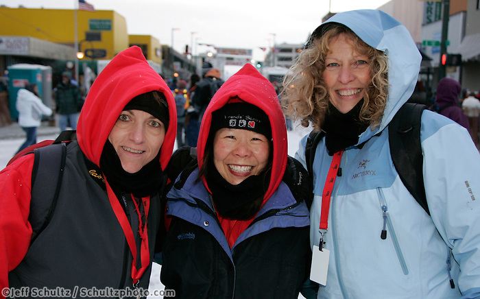 "The Target Store, ""Teacher on the Trail"" finalists for 2009 pose for a photo in Anchorage on Saturday March 1st during the ceremonial start day of the 2008 Iidtarod Sled Dog Race."