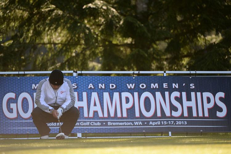 April 15, 2013; Bremerton, WA, USA; Saint Mary's Gaels golfer Dalan Refloglu during the WCC Golf Championships at Gold Mountain Golf Club.