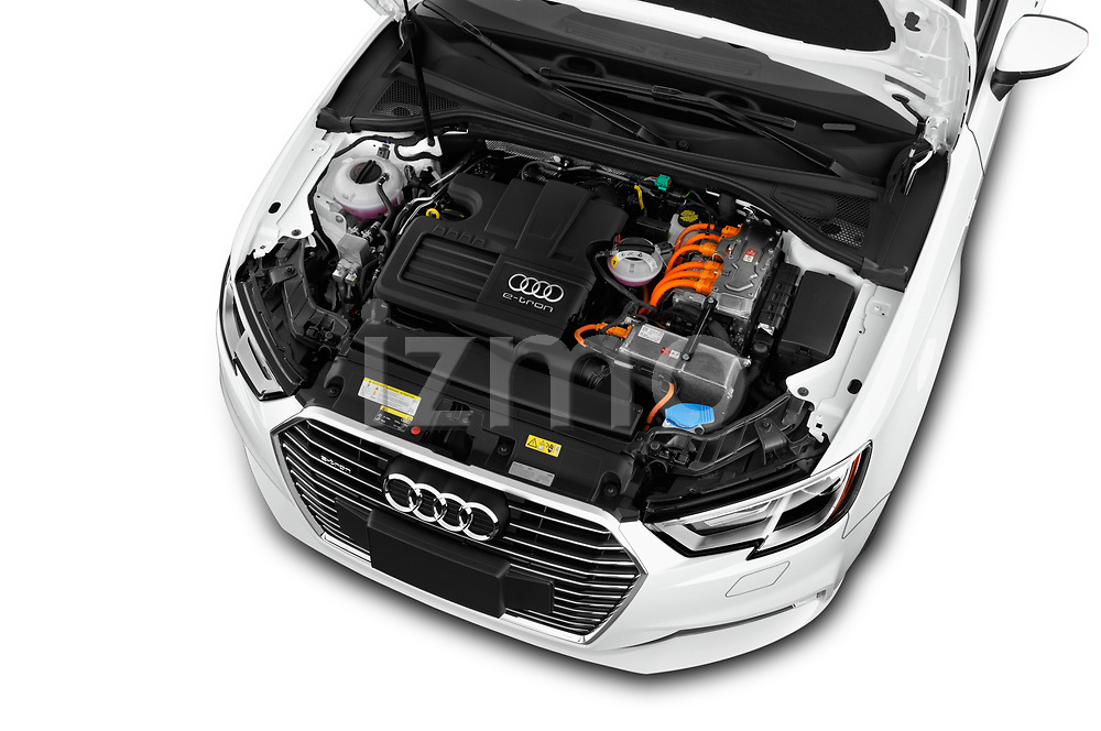 Car stock 2018 Audi A3 Sportback e tron Premium  5 Door Hatchback engine high angle detail view