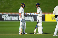 Otago's Neil Broom and Camden Hawkins (right) during day two of the Plunket Shield cricket match between the Wellington Firebirds and Otago Volts at the Basin Reserve in Wellington, New Zealand on Tuesday, 22 October 2019. Photo: Dave Lintott / lintottphoto.co.nz