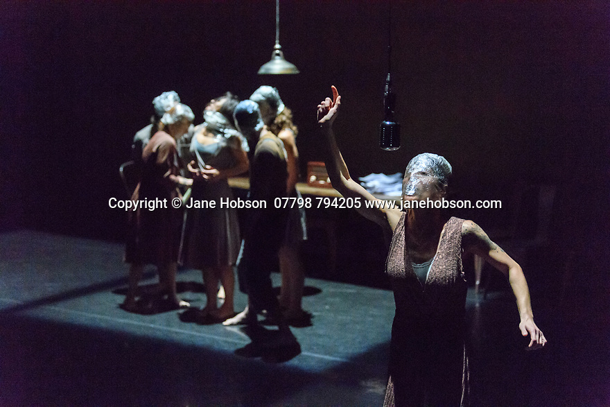 London, UK. 06.11.2018. Aakash Odedra&rsquo;s company perform extracts from his first company work #JeSuis ahead of its London premiere in the Lilian Baylis Studio at Sadler&rsquo;s Wells. #JeSuis is physical exploration of oppression, and the role<br /> of the media, created for seven dancers from Turkey. The dancers are: Gizem Aksu, Yasin Anar, Evrim Akyay, Taner G&uuml;ng&ouml;r, Su G&uuml;zey, Beril Şen&ouml;z, Melissa Ugolini. Photograph &copy; Jane Hobson.
