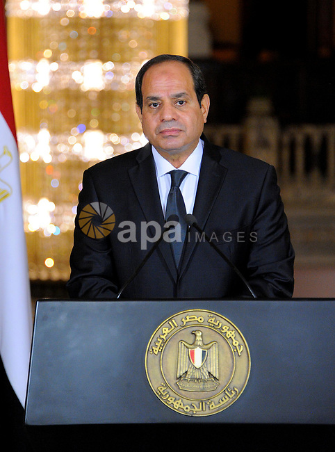 Egyptian President Abdel Fattah al-Sisi gives an address after the gunmen attack in Minya, accompanied by leaders of the Supreme Council of the Armed Forces and the Supreme Council for Police (unseen), at the Ittihadiya presidential palace in Cairo, Egypt, May 26, 2017. Photo by Egyptian President Office