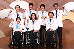(Top row - L to R) Satoru Sudo, Yoshihiro Nitta, Gurimu Narita, Kunio Nakamori (JPN), (Bottom row - L to R) Momoka Muraoka, Kuniko Obinata, Taiki Morii (JPN), MARCH 19, 2018 : Japan Delegation attend a press conference after arriving in Tokyo, Japan. Japan won the 3 gold medals, 4 silver medals, and 3 bronze medals during the PyeongChang 2018 Paralympics Winter Games. (Photo by Naoki Nishimura/AFLO SPORT)