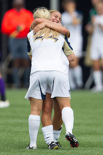 August 26, 2012:  Notre Dame midfielder Karin Simonian (15) and forward Crystal Thomas (22) celebrate goal during NCAA Soccer match between the Notre Dame Fighting Irish and the East Carolina Pirates at Alumni Stadium in South Bend, Indiana.  Notre Dame defeated East Carolina 5-0.