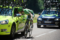 Peter Sagan (SVK/Tinkoff) checking in with DS Sean Yates<br /> <br /> st16: Morain-en-Montagne to Bern (SUI) / 209km<br /> 103rd Tour de France 2016