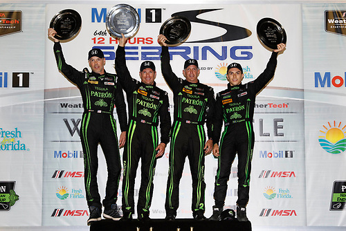 16-19 March, 2016, Sebring, Florida, USA<br /> , 2, Honda HPD, Ligier JS P2, P, Scott Sharp, Ed Brown, Joannes van Overbeek, Luis Felipe Derani, podium<br /> ©2016, Michael L. Levitt<br /> LAT Photo USA