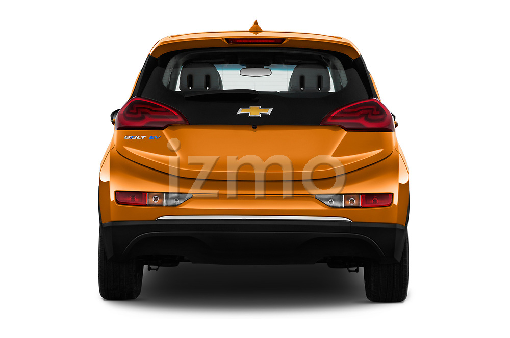 Straight rear view of 2017 Chevrolet Bolt-EV LT 5 Door Hatchback Rear View  stock images