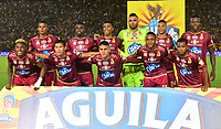 IBAGUÉ-COLOMBIA , 25 -11-2018 .Formación del Deportes Tolima ante el Independiente Medellín. Acción de juego entre los equipos Deportes Tolima y el Independiente Medellín  durante partido por la semifinal vuelta  de la Liga Águila II 2018 jugado en el estadio Manuel Murillo Toro de la ciudad de Ibagué./ Team of Deportes Tolima agaisnt of Independiente Medellin.Action game between teams  Deportes Tolima and  Independiente Medellin during the second match for the semifinal round of Liga Aguila II 2018 played at the Manuel Murillo Toro stadium in the city of Ibague. Photo: VizzorImage/ Juan Carlos Escobar / Contribuidor
