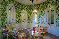 BNPS.co.uk (01202 558833)<br /> Pic: LeggettPrestige/BNPS<br /> <br /> PICTURED: Interior of the thatched summer house overlooking the gardens.<br /> <br /> A luxurious French chateau in a village liberated by the celebrated US general George Patton in World War Two has gone on the market for £1.35million.<br /> <br /> A stunning 19th century French chateau has emerged on the market for £1.35million - the same price as a terraced house in London.<br /> <br /> The Normandy property, located on the edge of the Bay of Mont Saint Michel, has 10 bedroom suites and is set in 14 hectares of manicured parkland.<br /> <br /> It also has equestrian facilities including 12 stables, as well as paddocks, a barn and a cottage.