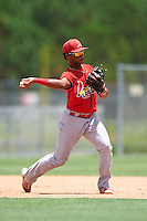 GCL Cardinals third baseman Starlin Balbuena (46) throws to first during the second game of a doubleheader against the GCL Marlins on August 13, 2016 at Roger Dean Complex in Jupiter, Florida.  GCL Cardinals defeated GCL Marlins 2-0.  (Mike Janes/Four Seam Images)