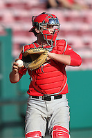 Catcher Steel Russell #17 of the Ohio State Buckeyes during the Big East-Big Ten Challenge vs. the Cincinnati Bearcats at Al Lang Field in St. Petersburg, Florida;  February 18, 2011.  Cincinnati defeated Ohio State 11-5.  Photo By Mike Janes/Four Seam Images