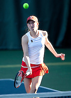 STANFORD, CA - January 26, 2011: Carolyn McVeigh of Stanford women's tennis during her match with Veronica Li against UC Davis' Edles/Curry. Li/McVeigh won 8-2.
