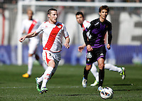 Real Valladolid's Alvaro Rubio (r) and Rayo Vallecano's Tito during La Liga  match. February 24,2013.(ALTERPHOTOS/Alconada)
