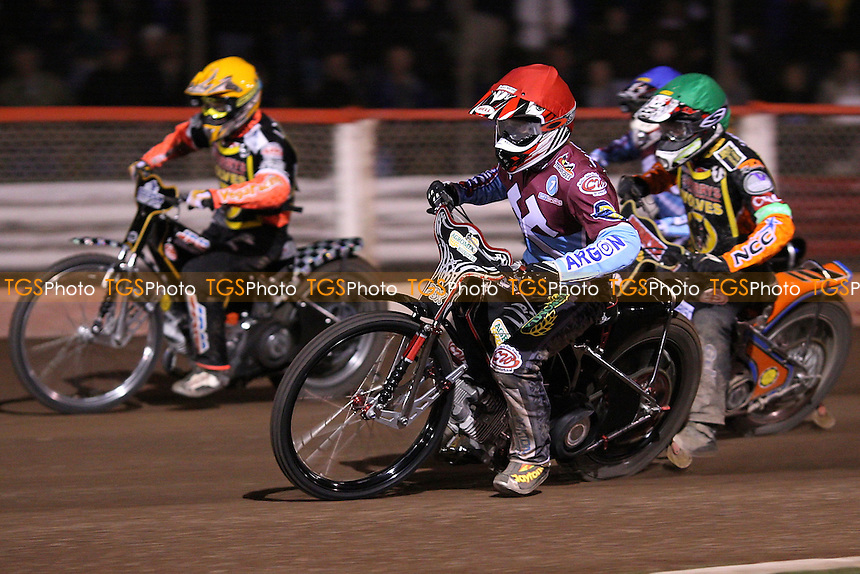 Heat 13: Adam Shields (red), Freddie Lindgren (yellow), Peter Karlsson (green) and Kauko Nieminen (blue) - Lakeside Hammers vs Wolverhampton Wolves, Elite League Speedway at the Arena Essex Raceway, Purfleet - 01/05/09 - MANDATORY CREDIT: Rob Newell/TGSPHOTO - Self billing applies where appropriate - 0845 094 6026 - contact@tgsphoto.co.uk - NO UNPAID USE.