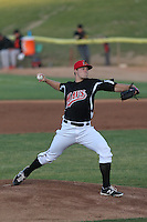 Tyler Smith (27) of the High Desert Mavericks pitches during a game against the Inland Empire 66ers at Mavericks Stadium on May 6, 2015 in Adelanto, California. Inland Empire defeated High Desert, 10-4. (Larry Goren/Four Seam Images)