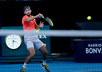 7th January 2020; RAC Arena, Perth, Western Australia; ATP Cup Australia, Perth, Day 5; Russia versus Norway; Viktor Durasovic of Norway plays a forehand shot from the baseline during the doubles against Russia - Editorial Use