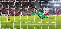 Manchester City's Bernardo Silva scores his side's second goal <br /> <br /> Photographer Alex Dodd/CameraSport<br /> <br /> The Premier League - Liverpool v Manchester City - Sunday 14th January 2018 - Anfield - Liverpool<br /> <br /> World Copyright &copy; 2018 CameraSport. All rights reserved. 43 Linden Ave. Countesthorpe. Leicester. England. LE8 5PG - Tel: +44 (0) 116 277 4147 - admin@camerasport.com - www.camerasport.com