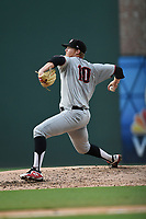 Starting pitcher Noah Bremer (10) of the Hickory Crawdads delivers a pitch in Game 1 of a doubleheader against the Greenville Drive on Wednesday, July 25, 2018, at Fluor Field at the West End in Greenville, South Carolina. Greenville won, 4-1. (Tom Priddy/Four Seam Images)