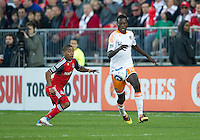 07 May 2011: Houston Dynamo midfielder Je-Vaughan Watson #10 and Toronto FC forward Joao Plata #7 in action during an MLS game between the Houston Dynamo and the Toronto FC at BMO Field in Toronto, Ontario..Toronto FC won 2-1.