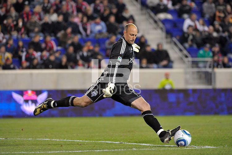 Goalkeeper Kasey Keller (18) of the Seattle Sounders. The New York Red Bulls defeated the Seattle Sounders 1-0 during a Major League Soccer (MLS) match at Red Bull Arena in Harrison, NJ, on March 19, 2011.