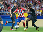 Atletico Madrid´s Argentinean forward Angel Martin Correa and Cesc Fabregas and Bakayoko of Chelsea during the UEFA Champions League group C match between Atletico Madrid and Chelsea played at the Wanda Metropolitano Stadium in Madrid, on September 27th 2017.