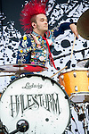 Arejay Hale of Halestorm performs during the 2013 Rock On The Range festival at Columbus Crew Stadium in Columbus, Ohio.