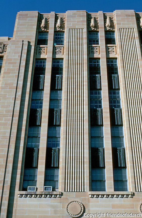 St. Paul:  City Hall, 1931-32.  Holabird & Root, Ellerbe Architects.  Late Zig Zag Moderne.  Photo '97.