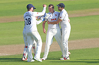 Peter Siddle of Essex celebrates with his team mates after taking the wicket of Johnny Bairstow during Essex CCC vs Yorkshire CCC, Specsavers County Championship Division 1 Cricket at The Cloudfm County Ground on 4th May 2018