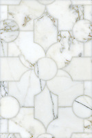 Chatham 2, a waterjet mosaic shown in polished Calacatta Tia, is part of the Silk Road collection by Sara Baldwin for New Ravenna.